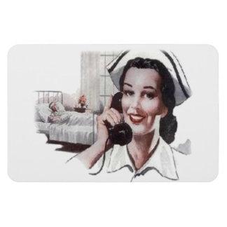 Vintage Hospital Ward Nurse on Telephone Magnet