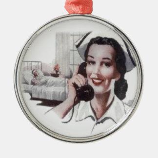 Vintage Hospital Ward Nurse on Telephone Christmas Ornament
