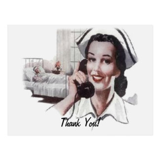 Vintage Hospital Ward Nurse on Telephone Postcard