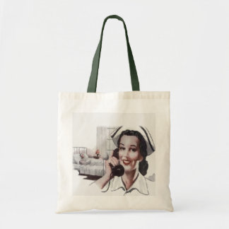Vintage Hospital Ward Nurse on Telephone Tote Bag