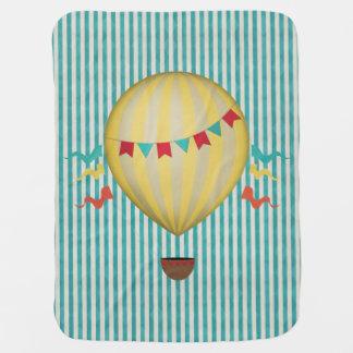 Vintage Hot Air Ballon Receiving Blanket