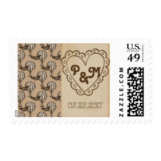 Vintage Hot Air Balloon and Heart Wedding Stamp