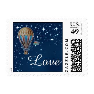 Vintage Hot Air Balloon at Night Wedding Stamp