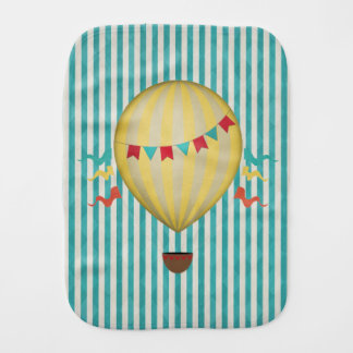 Vintage Hot Air Balloon Baby Burp Cloth