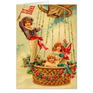 Vintage Hot Air Balloon Birthday Card