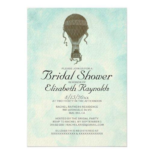 Vintage Hot Air Balloon Bridal Shower Invitations Custom Invitations