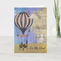 Vintage Hot Air Balloon Father's Day Collage Card