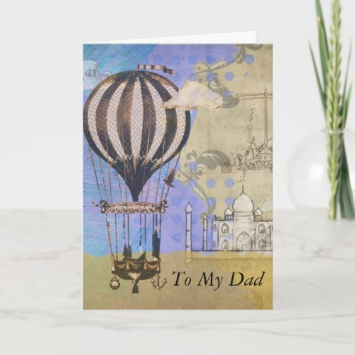 Vintage Hot Air Balloon Father's Day Collage