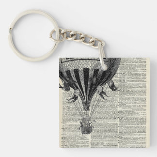 Vintage Hot Air Balloon Double-Sided Square Acrylic Keychain