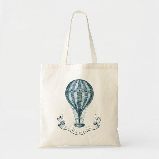 Vintage Hot Air Balloon Organic Grocery Bag