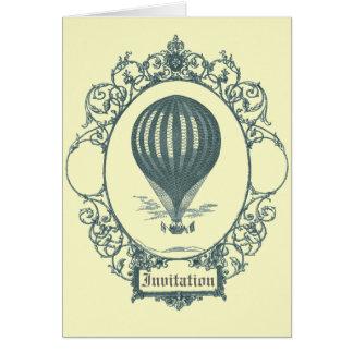 Vintage Hot Air Balloon Pilot Birthday Party Card