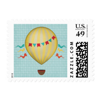 Vintage Hot Air Balloon Postage Stamps