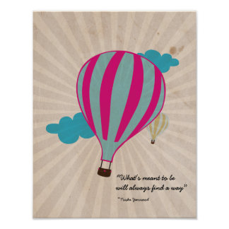 Vintage Hot Air Balloon Poster Customizable Text