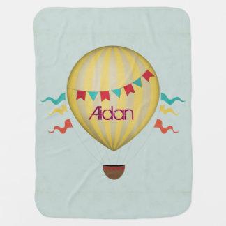 Vintage Hot Air Balloon Receiving Blanket