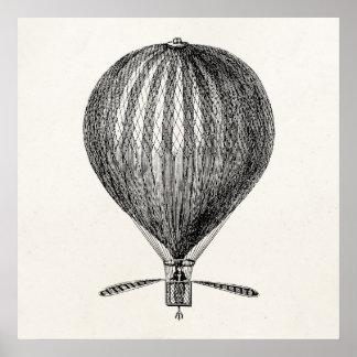 Vintage Hot Air Balloon Retro Airship Balloons Poster