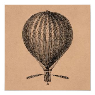 """Vintage Hot Air Balloon Retro Airship Old Balloons 5.25"""" Square Invitation Card"""