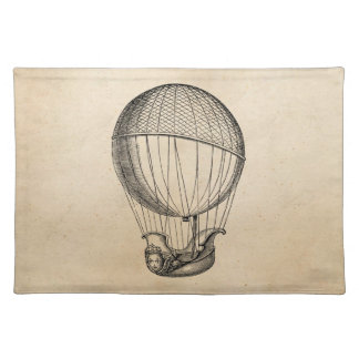 Vintage Hot Air Balloon Retro Boat Ship Balloons Cloth Placemat