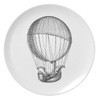 Vintage Hot Air Balloon Retro Boat Ship Balloons Dinner Plate