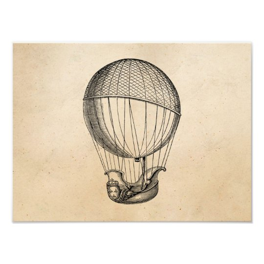 Vintage Hot Air Balloon Retro Boat Ship Balloons Photo