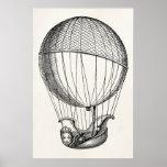 Vintage Hot Air Balloon Retro Boat Ship Balloons Print