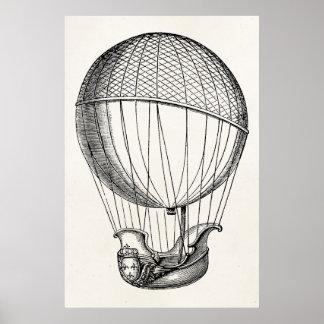 Vintage Hot Air Balloon Retro Boat Ship Balloons Poster
