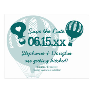 Vintage Hot Air Balloon Save the Date Postcards