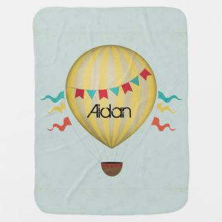 Vintage Hot Air Balloon Stroller Blanket