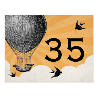 Vintage Hot Air Balloon Table Numbers Postcard