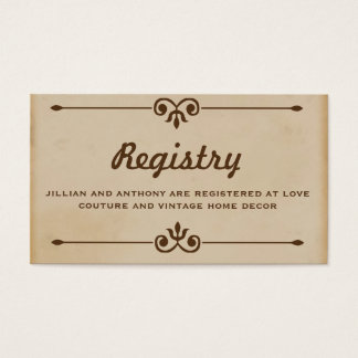 Vintage Hot Air Balloon Tan Registry Card