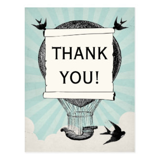Vintage Hot Air Balloon Thank You Wedding Postcard