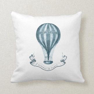 Vintage Hot Air Balloon Throw Pillow