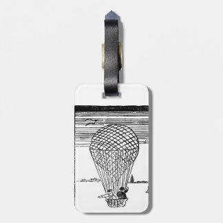 vintage hot air balloon travel luggage tag