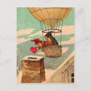 Vintage Hot Air Balloon Valentine Postcard