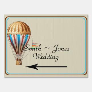 Vintage Hot air Balloon Wedding Direction Sign