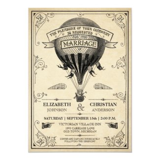 "Vintage Hot Air Balloon Wedding Invitation 5"" X 7"" Invitation Card"