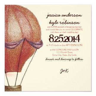 "Vintage Hot Air Balloon Wedding Invitation 5.25"" Square Invitation Card"