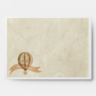 Vintage Hot Air Balloon Wedding Invitation Envelop Envelope