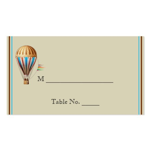 Vintage Hot Air Balloon Wedding Place Cards Business Cards