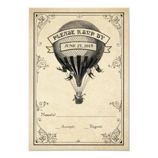 Vintage Hot Air Balloon Wedding RSVP 3.5x5 Paper Invitation Card