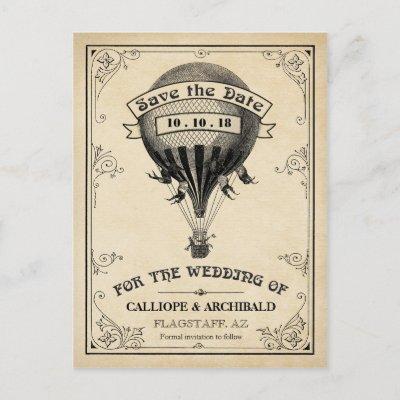 Vintage Hot Air Balloon Wedding Save the Date Announcement Postcard