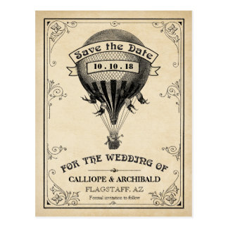 Vintage Hot Air Balloon Wedding Save the Date Postcard