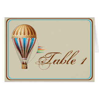 Vintage Hot Air Balloon Wedding Table Number