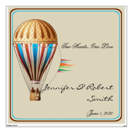 Vintage Hot air Balloon Wedding Wall Cling Room Sticker