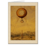 Vintage Hot Air Balloon with Clock Greetings Cards