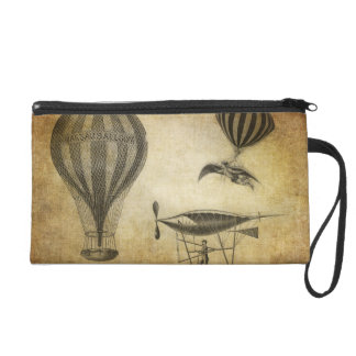 Vintage Hot Air Balloons and Dirigibles Wristlet Purses