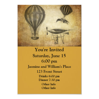 Vintage Hot Air Balloons and Dirigibles Card