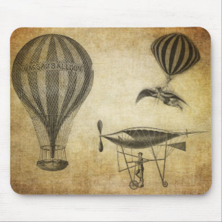 Vintage Hot Air Balloons and Dirigibles Mouse Pads