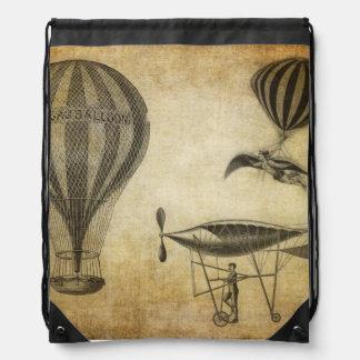 Vintage Hot Air Balloons and Dirigibles Drawstring Bag
