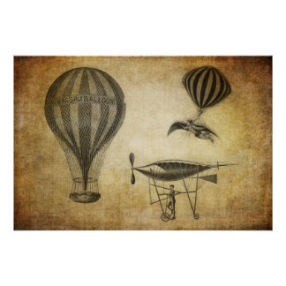 Vintage Hot Air Balloons and Dirigibles Poster