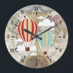 "Vintage Hot Air Balloons Antique World Map Large Clock<br><div class=""desc"">Clock with black roman numerals,  hot air balloons in red,  tan,  and blue,  clouds,  and a vintage world map background. Great for your nursery decor or child&#39;s bedroom!</div>"